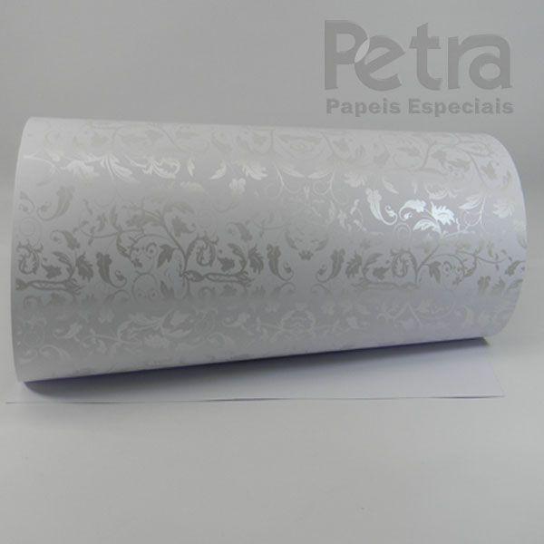 Papel Floral Ref 01 - Branco com Pérola - Tam. 32x65 cm - 180g/m²