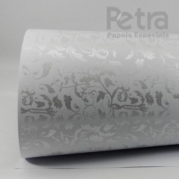 Papel Floral Ref 01 - Branco com Pérola - Tam. A3 - 180g/m²