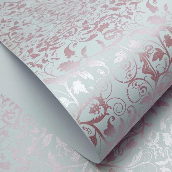Papel Floral Ref 01 - Branco com Rosa Metalico - Tam. 32x65 cm - 180g/m²