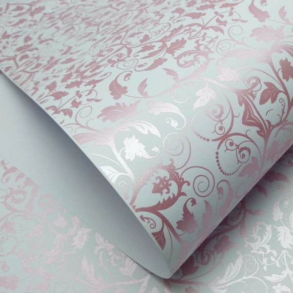 Papel Floral Ref 01 - Branco com Rosa Metalico - Tam. 47x65cm - 180g/m²