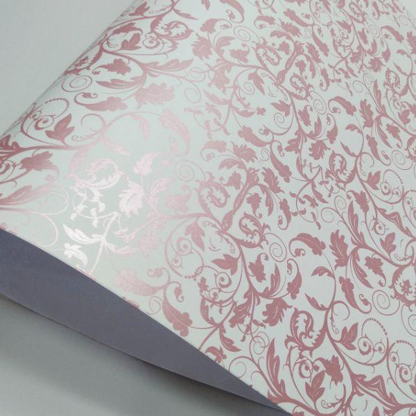 925e47c8f Papel Floral Ref 01 - Branco com Rosa Metalico - Tam. A4 - 180g/