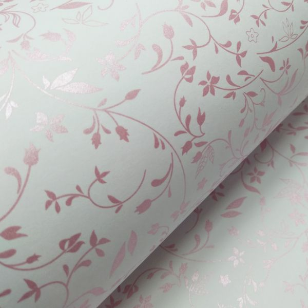 Papel Floral Ref 03 - Branco com Rosa Metalico - Tam. A4 - 180g/m²