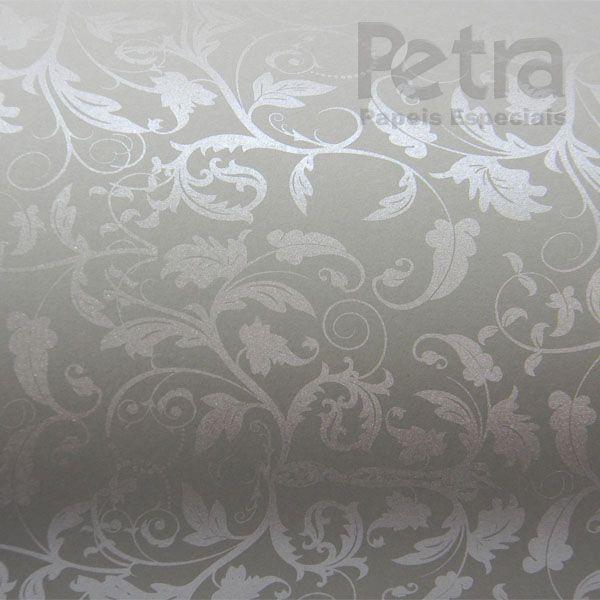 Papel Floral Ref 01 - Cinza com Prata - Tam. 30,5x30,5 - 180g/m²