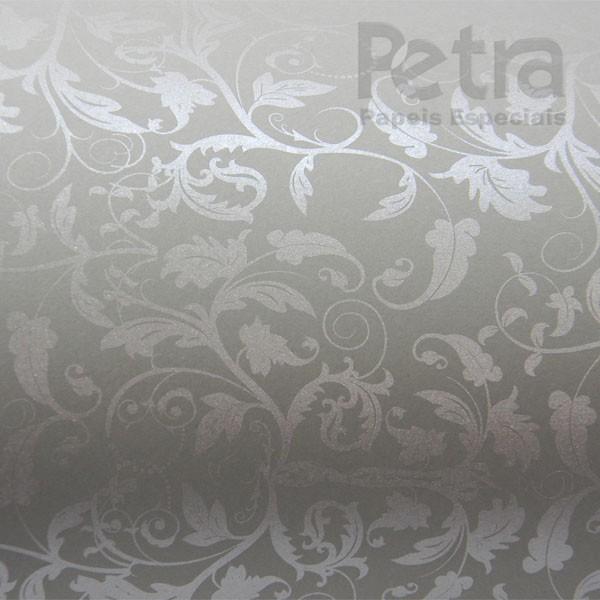 Papel Floral Ref 01 - Cinza com Prata - Tam. A3 - 180g/m²