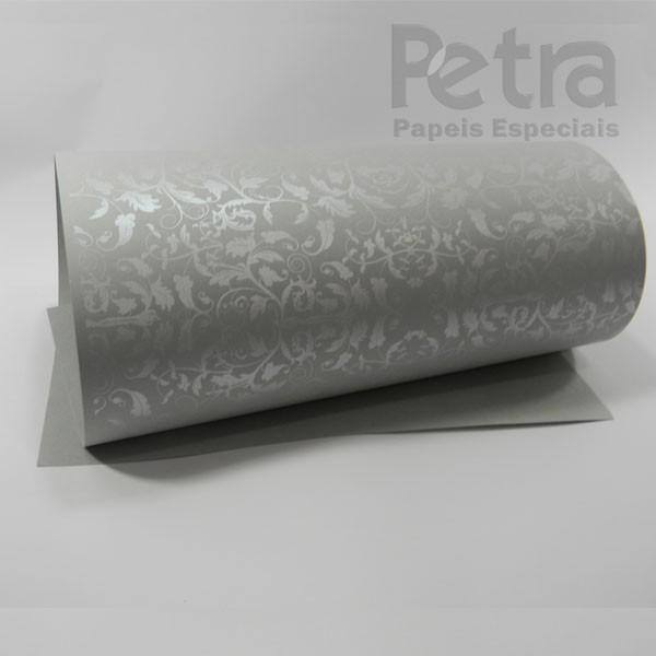 Papel Floral Ref 01 - Cinza com Prata - Tam. A4 - 180g/m²
