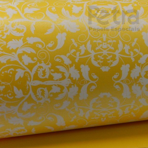 Papel Floral Ref 01 - Pérola Amarelo com Branco - Tam. 30,5x30,5 - 180g/m²