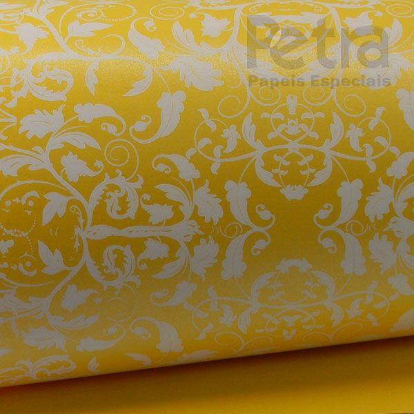 Papel Floral Ref 01 - Pérola Amarelo com Branco - Tam. 32x65cm - 180g/m²