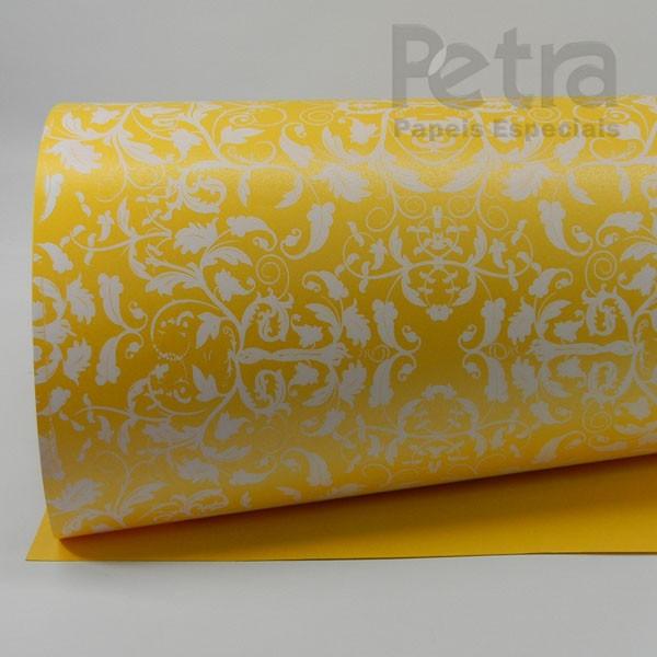Papel Floral Ref 01 - Pérola Amarelo com Branco - Tam. A4 - 180g/m²
