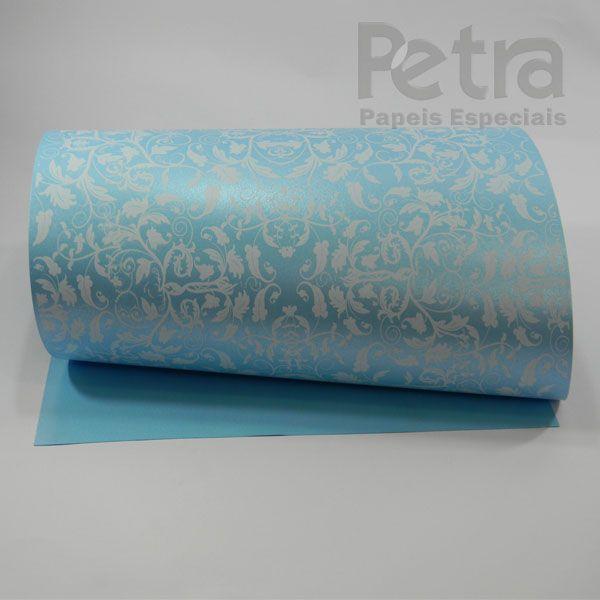 Papel Floral Ref 01 - Pérola Azul Claro com Branco - Tam. 30,5x30,5cm - 180g/m²