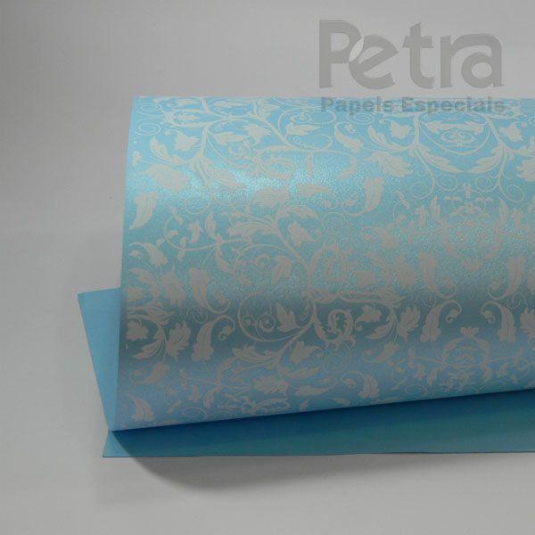 Papel Floral Ref 01 - Pérola Azul Claro com Branco - Tam. 32x65cm - 180g/m²