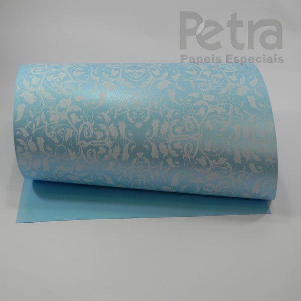 Papel Floral Ref 01 - Pérola Azul Claro com Branco - Tam. 47x65cm - 180g/m²