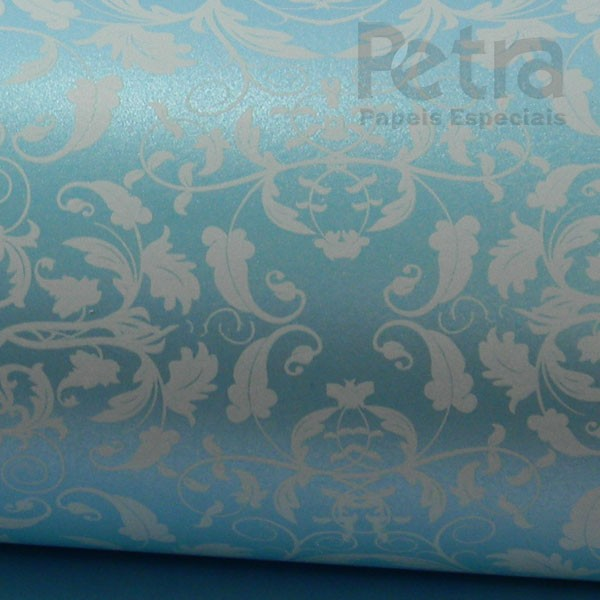 Papel Floral Ref 01 - Pérola Azul Claro com Branco - Tam. A4 - 180g/m²