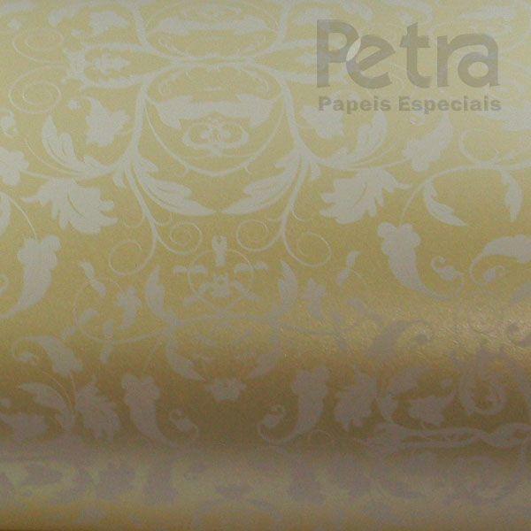 Papel Floral Ref 01 - Pérola Champanhe com Branco - Tam. 32x65cm - 180g/m²