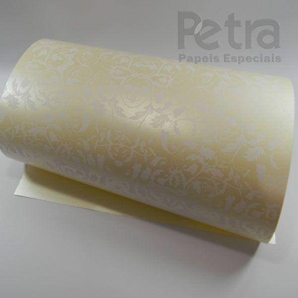 Papel Floral Ref 01 - Pérola Champanhe com Branco - Tam. 47x65cm - 180g/m²