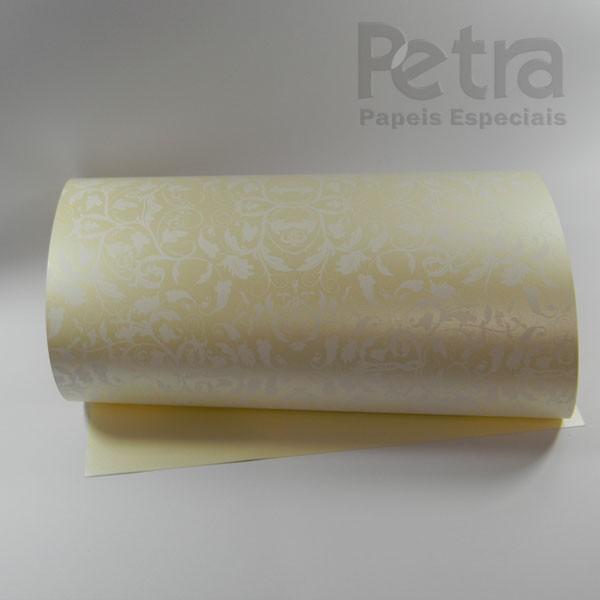Papel Floral Ref 01 - Pérola Champanhe com Branco - Tam. A3 - 180g/m²