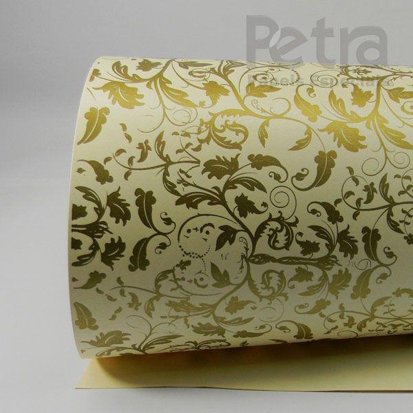 Papel Floral Ref 01 - Pérola Champanhe com Dourado - Tam. 32x65cm  - 180g/m²