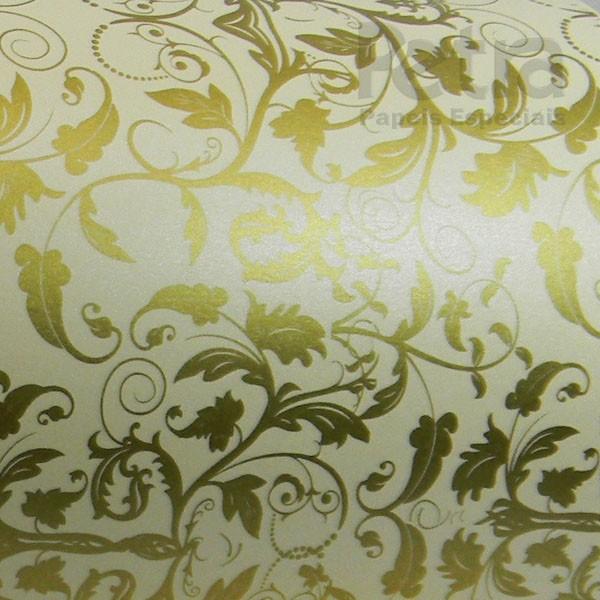 Papel Floral Ref 01 - Pérola Champanhe com Dourado - Tam. A4 - 180g/m²