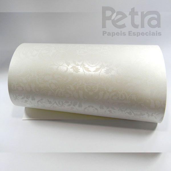 Papel Floral Ref 01 - Pérola com Branco - Tam. 30,5x30,5cm - 180g/m²