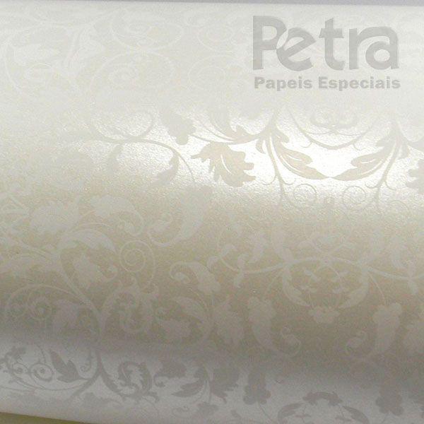 Papel Floral Ref 01 - Pérola com Branco - Tam. 32x65cm - 180g/m²