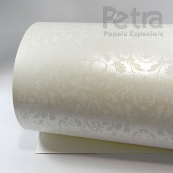 Papel Floral Ref 01 - Pérola com Branco - Tam. A3 - 180g/m²