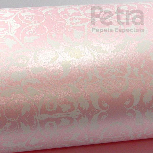 Papel Floral Ref 01 - Pérola Rosa Claro com Branco - Tam. 32x65cm - 180g