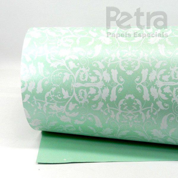 Papel Floral Ref 01 - Pérola Verde com Branco - Tam. 30,5x30,5cm - 180g/m²