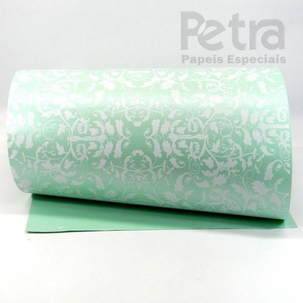 Papel Floral Ref 01 - Pérola Verde com Branco - Tam. A4 - 180g/m²