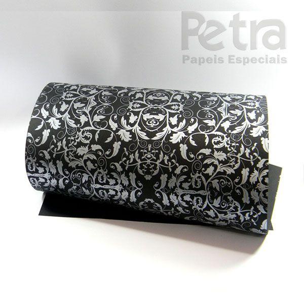 Papel Floral Ref 01 - Preto com Prata - Tam. 32x65 cm - 180g/m²