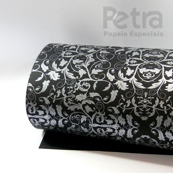 Papel Floral Ref 01 - Preto com Prata - Tam. A3 - 180g/m²