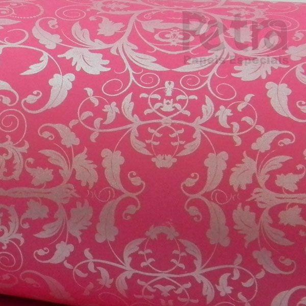 Papel Floral Ref 01 - Rosa Pink com Prata - Tam. 32x65 cm - 180g/m²