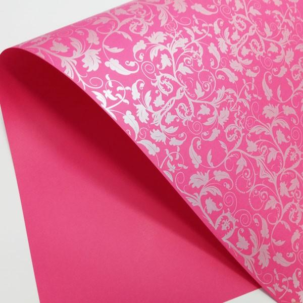 Papel Floral Ref 01 - Rosa Pink com Prata - Tam. A4 - 180g/m²