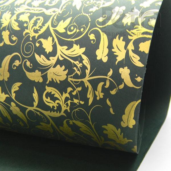 Papel Floral Ref 01 - Verde com Ouro - Tam. A4 - 180g/m²
