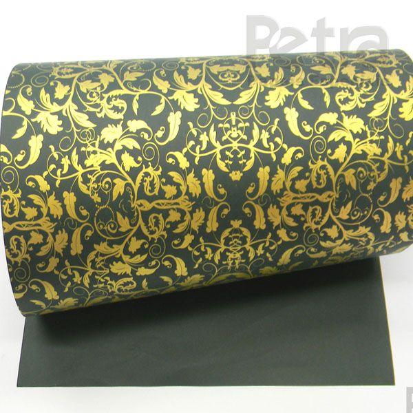 Papel Floral Ref 01 - Verde com Ouro - Tam. 32x65 cm - 180g/m²
