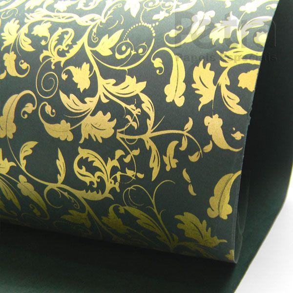 Papel Floral Ref 01 - Verde com Ouro - Tam. A3 - 180g/m²