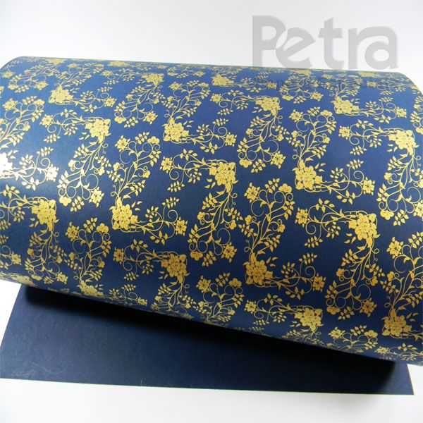 Papel Floral Ref 02 -  Azul Escuro com Dourado - Tam. 47x65cm - 180g/m²