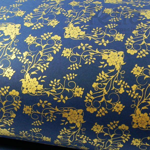 Papel Floral Ref 02 - Azul Escuro com Dourado - Tam. A3 - 180g/m²