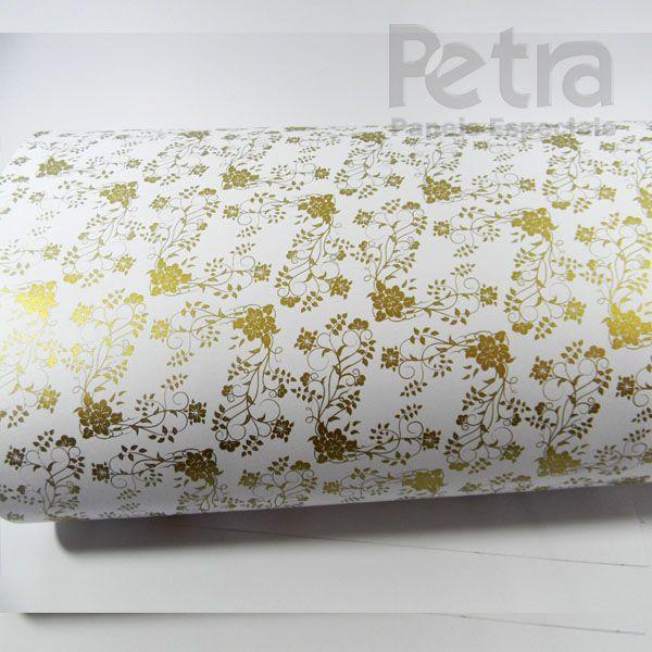 Papel Floral Ref 02 - Branco com Dourado - Tam. 30,5x30,5 - 180g/m²