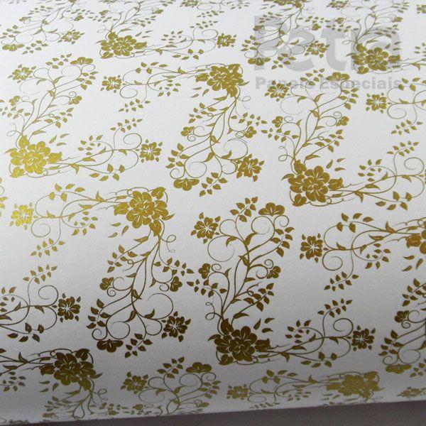 Papel Floral Ref 02 - Branco com Dourado - Tam. 32x65cm - 180g/m²