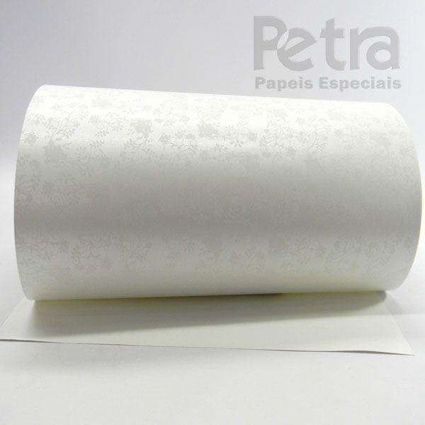 Papel Floral Ref 02 - Pérola com Branco - Tam. 30,5x30,5cm - 180g/m²