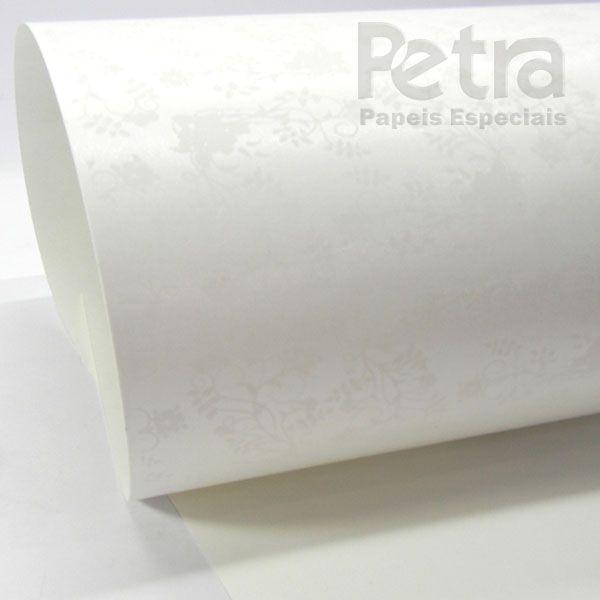 Papel Floral Ref 02 - Pérola com Branco - Tam. 32x65cm - 180g/m²