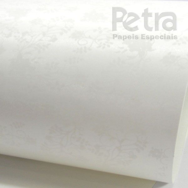 Papel Floral Ref 02 - Pérola com Branco - Tam. A4 - 180g/m²