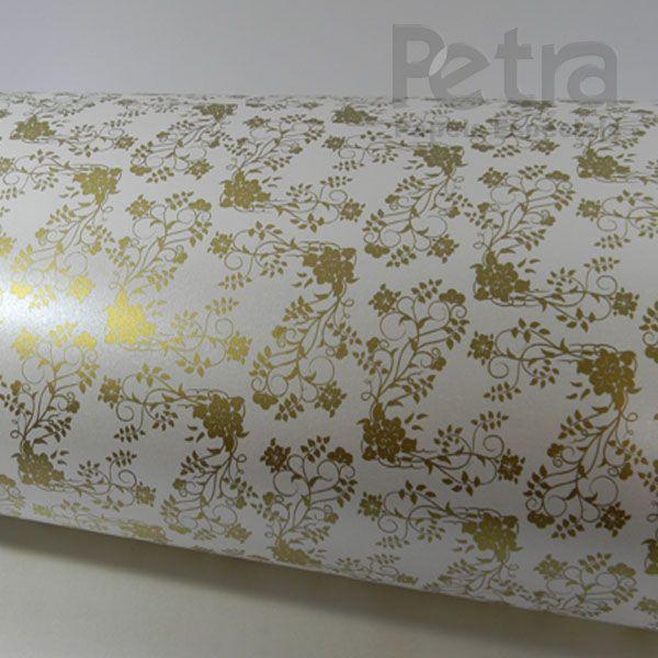 Papel Floral Ref 02 - Pérola com Dourado - Tam. 47x65cm - 180g/m²