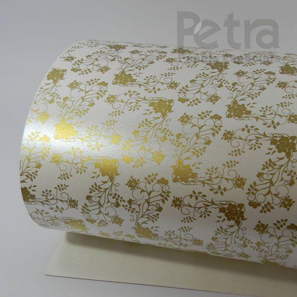 Papel Floral Ref 02 - Pérola com Dourado - Tam. A4 - 180g/m²