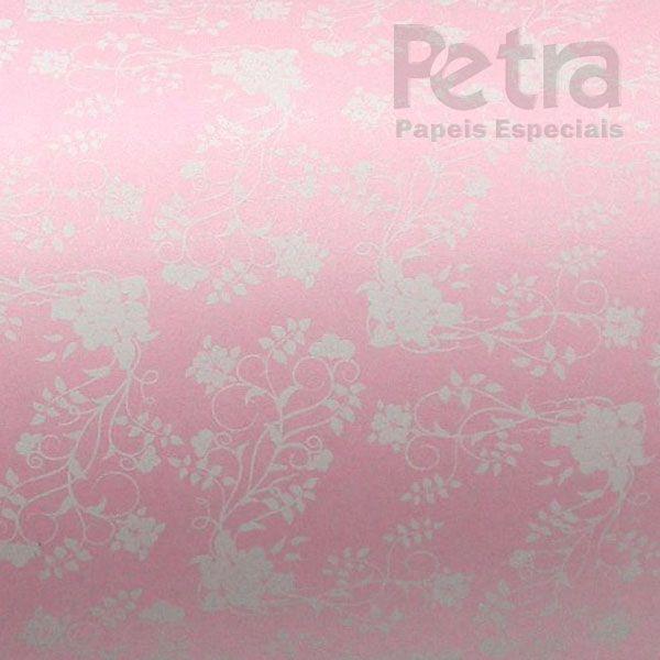 Papel Floral Ref 02 - Pérola Rosa Claro com Branco - Tam. 32x65cm - 180g/m²