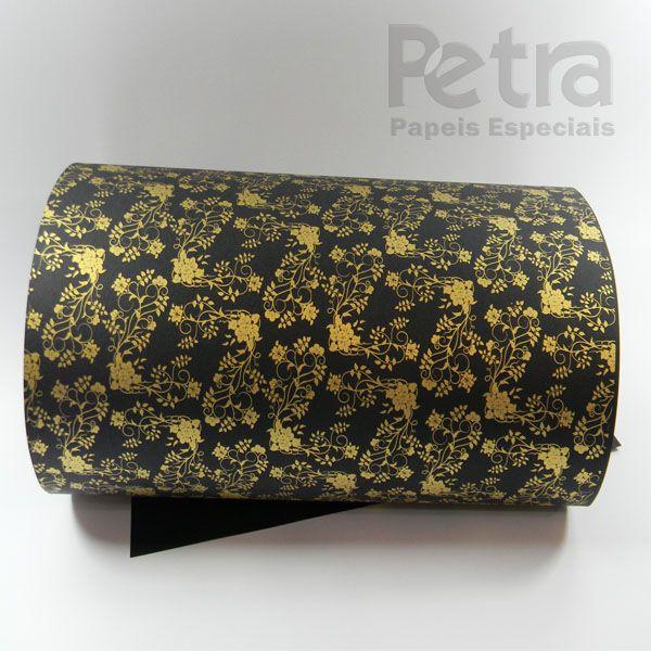 Papel Floral Ref 02 - Preto com Dourado - Tam. 30,5x30,5 - 180g/m²