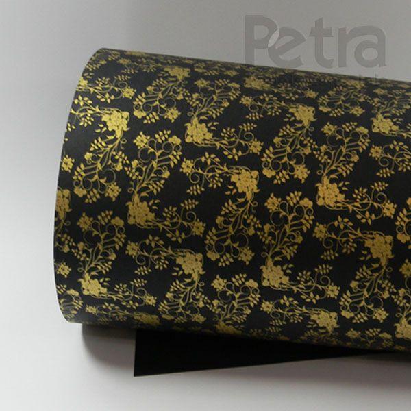 Papel Floral Ref 02 - Preto com Dourado - Tam. 32x65cm - 180g/m²