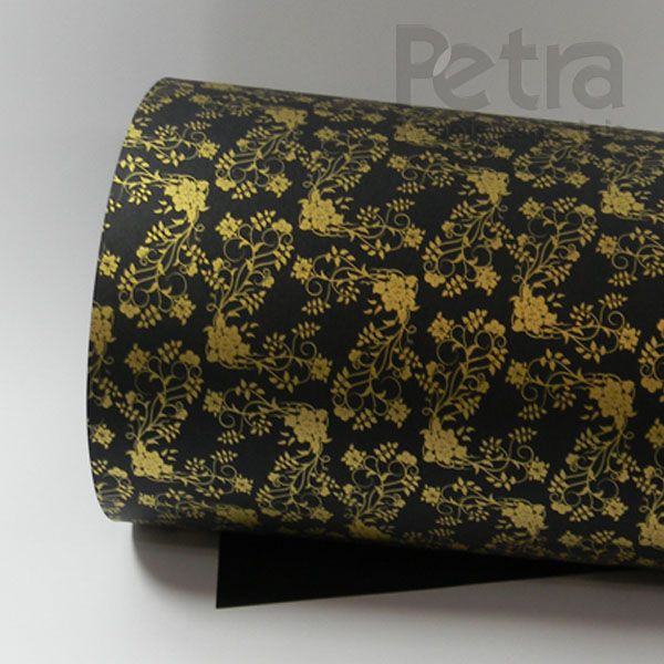 Papel Floral Ref 02 -  Preto com Dourado - Tam. 47x65cm - 180g/m²