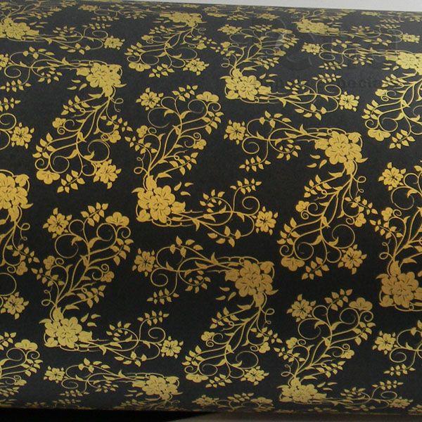 Papel Floral Ref 02 - Preto com Dourado - Tam. A4 - 180g/m²