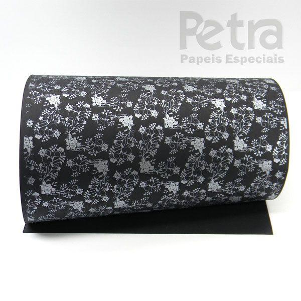 Papel Floral Ref 02 - Preto com Prata - Tam. 30,5x30,5 - 180g/m²