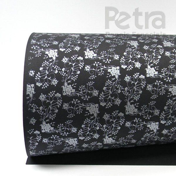 Papel Floral Ref 02 - Preto com Prata - Tam. 32x65cm - 180g/m²